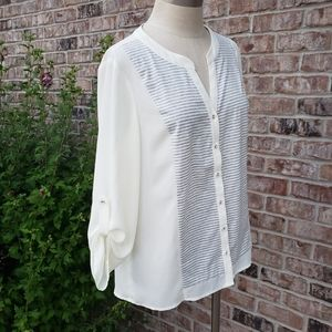 NWT Skies Are Blue 2-Tone Striped Top Cream Size M